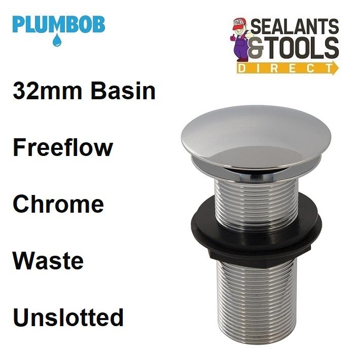 Plumbob Freeflow Chrome Plated Plug Basin Waste Unslotted 404445