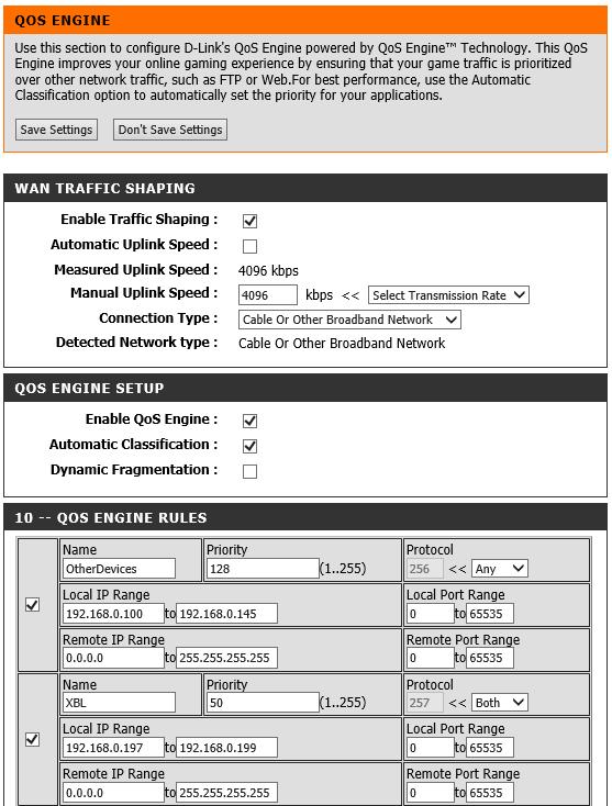 DIR-857 Gaming, QoS and GameFuel Setup Information - XBox Live