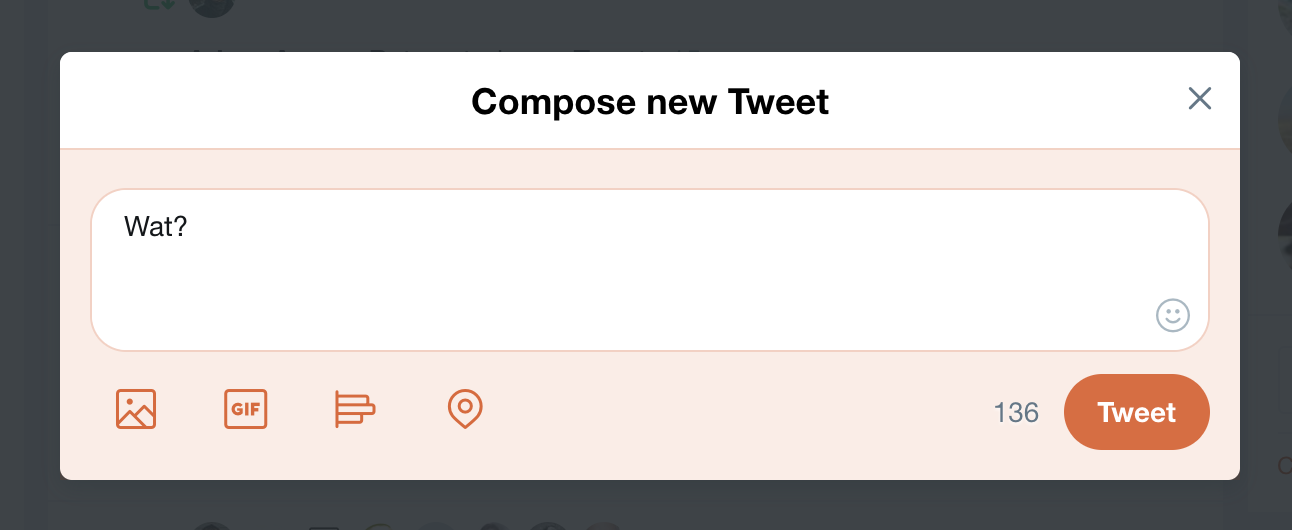 twitter compose window with rounded corners