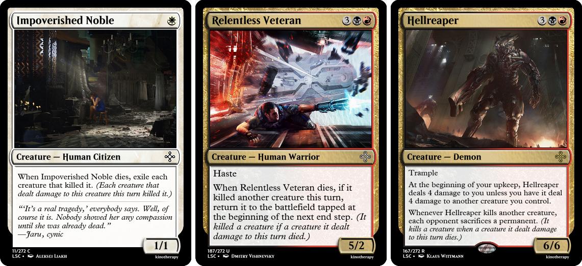 Impoverished Noble, Relentless Veteran, Hellreaper