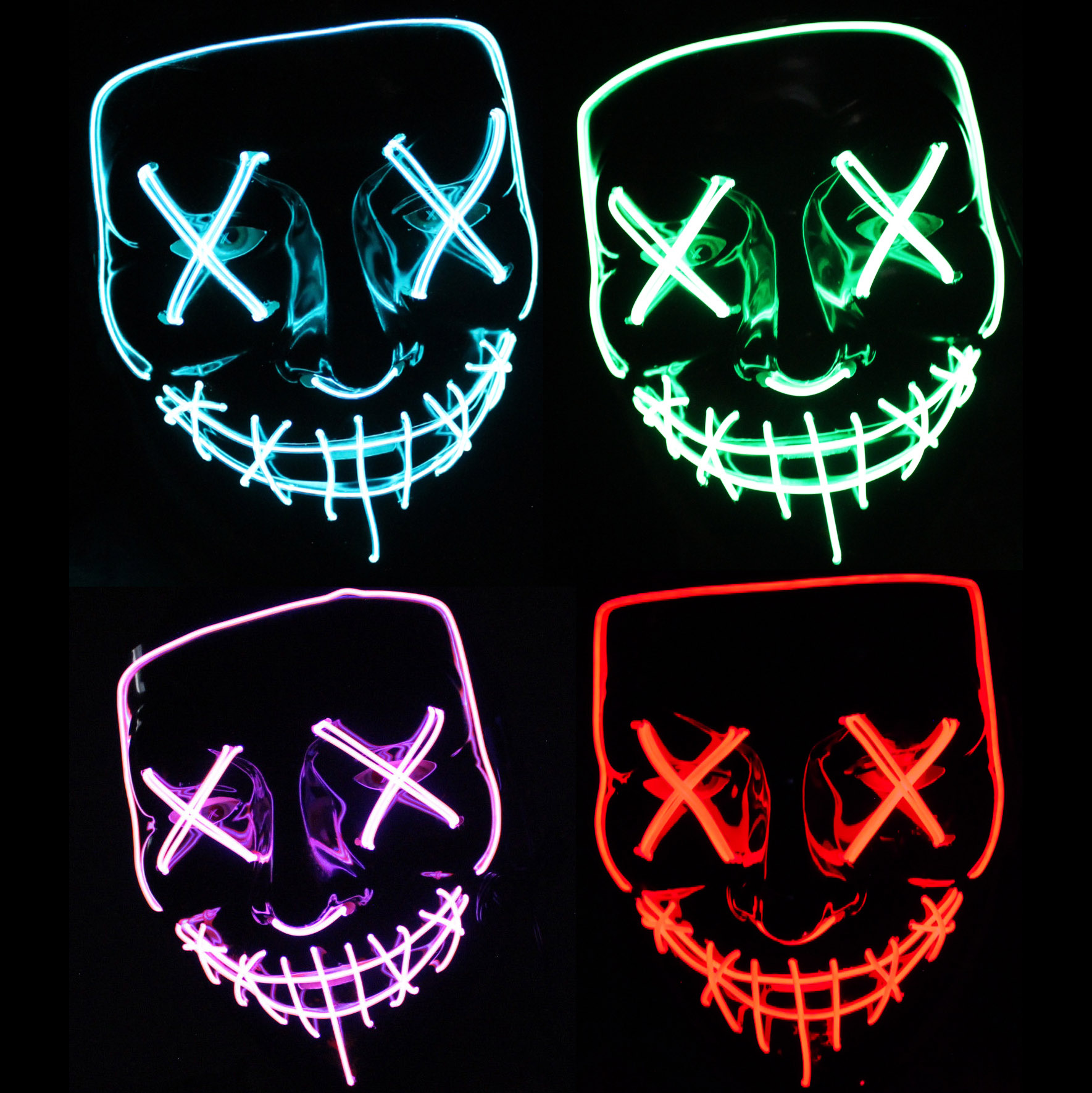 LED Mask Purge Election Year Halloween Blue Green Red