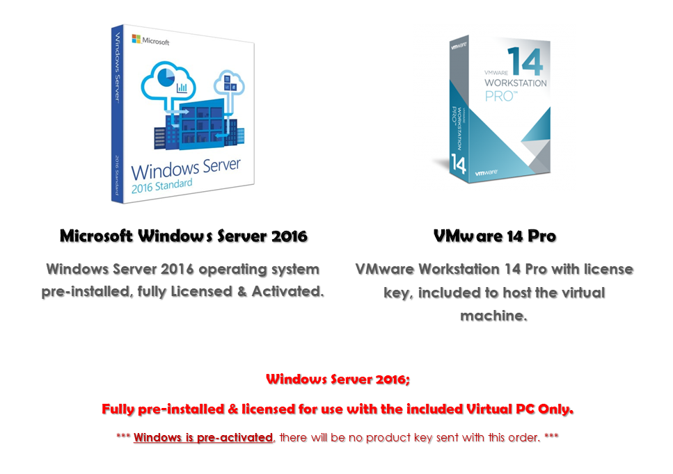 Details about Windows Server 2016 Virtual PC VMware 14 Pro Fully Installed