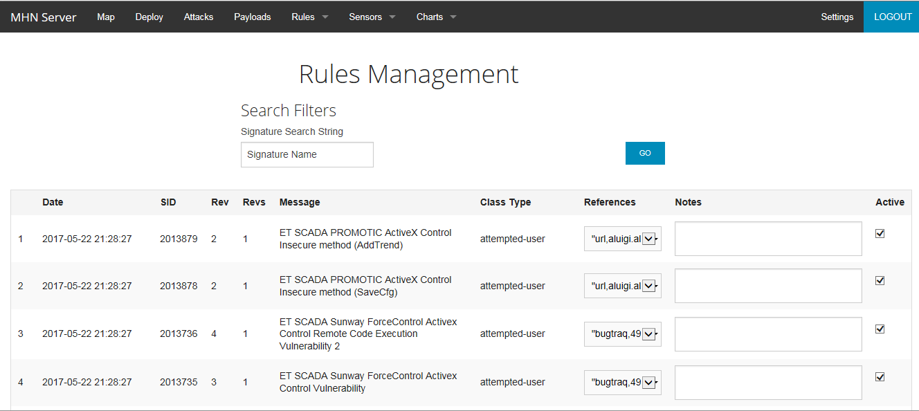 MHN Rules Management screenshot