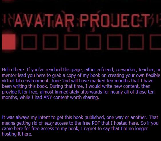 Avatar book screenshot
