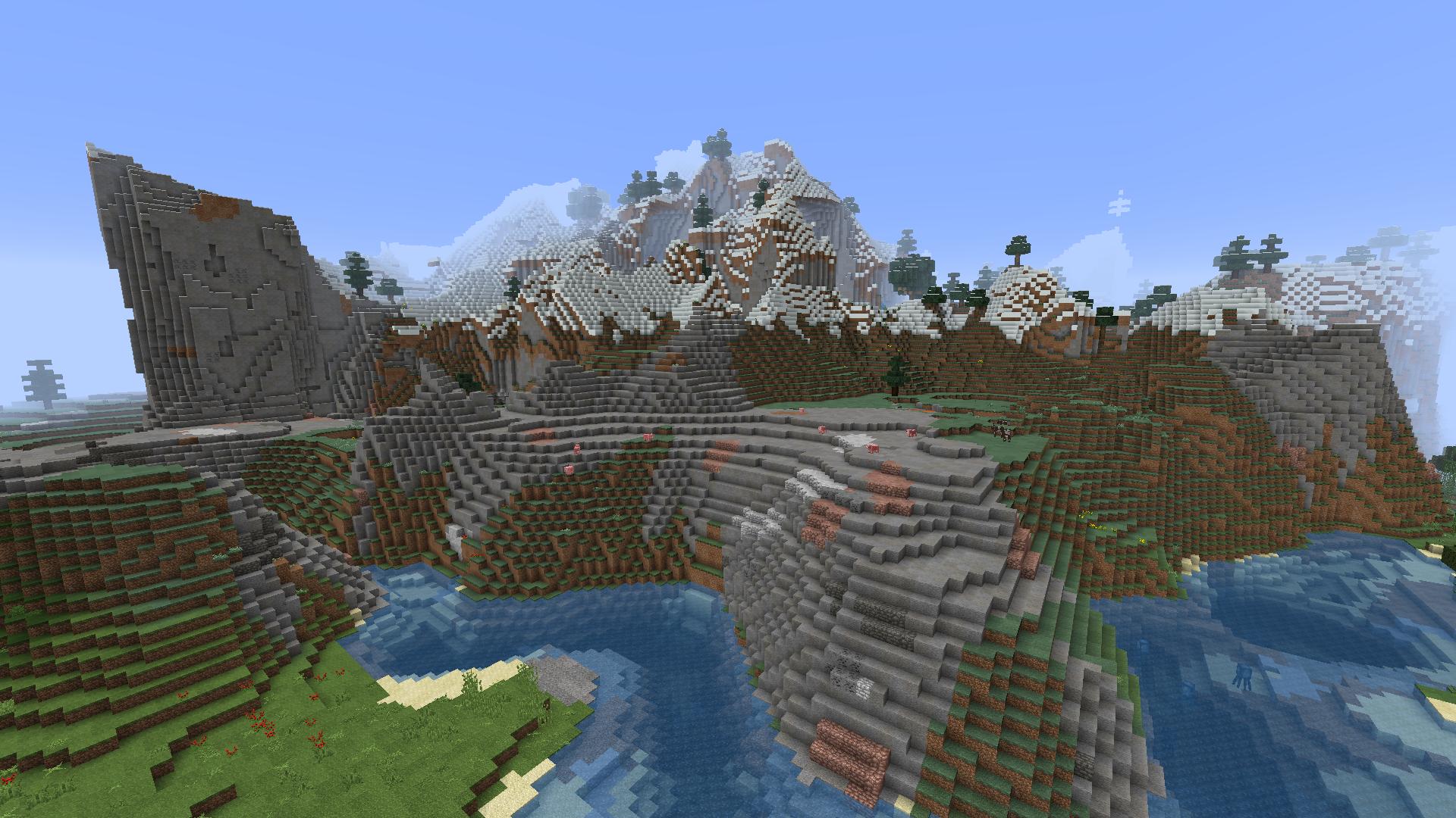 Riverside plateau along snowy peaks