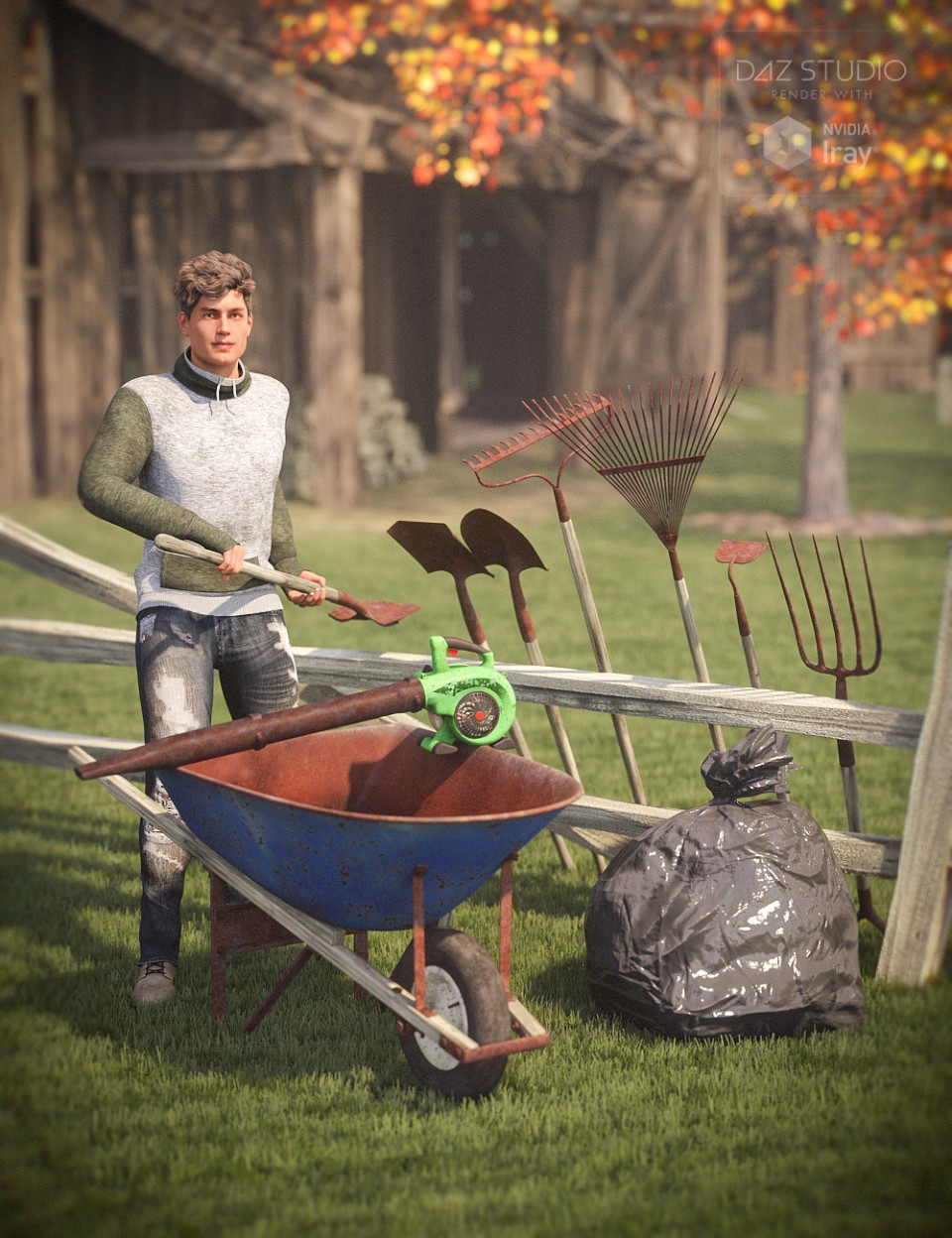 Lawn Tools and Poses for Genesis 8 Male(s) and Female(s)