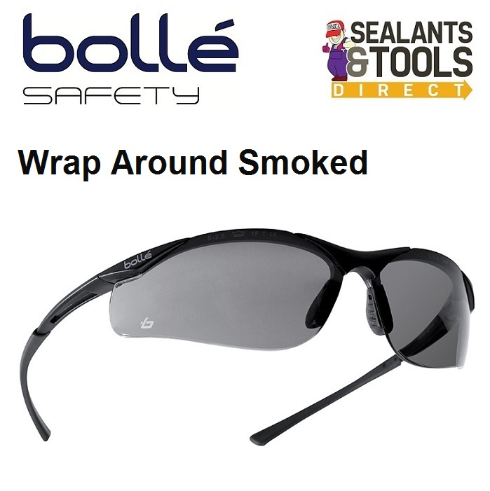 Bolle Wrap Around Contour Safety Glasses Smoked
