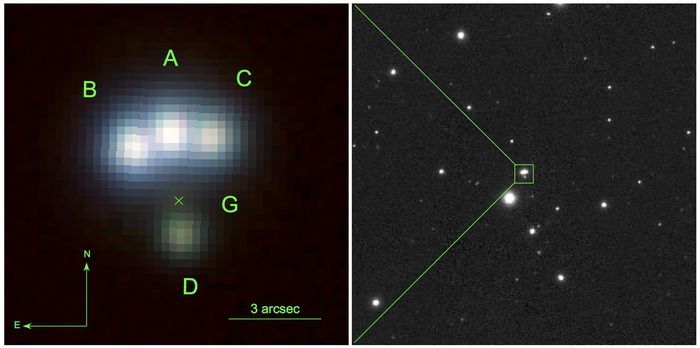 Обнаружен четырежды линзированный квазар.