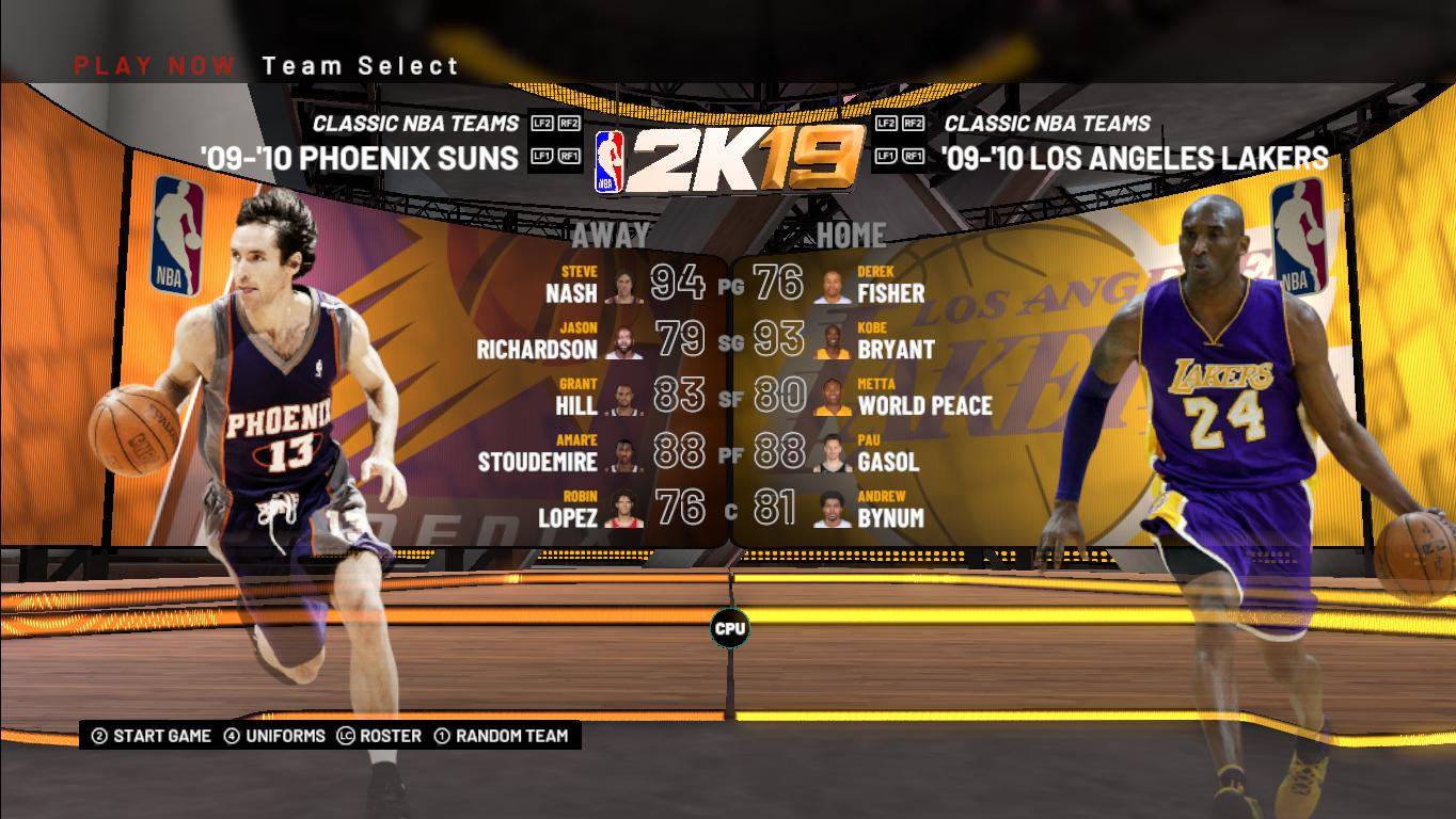 No Injuries Roster W/ New Retro Team [09 -10 Lakers And
