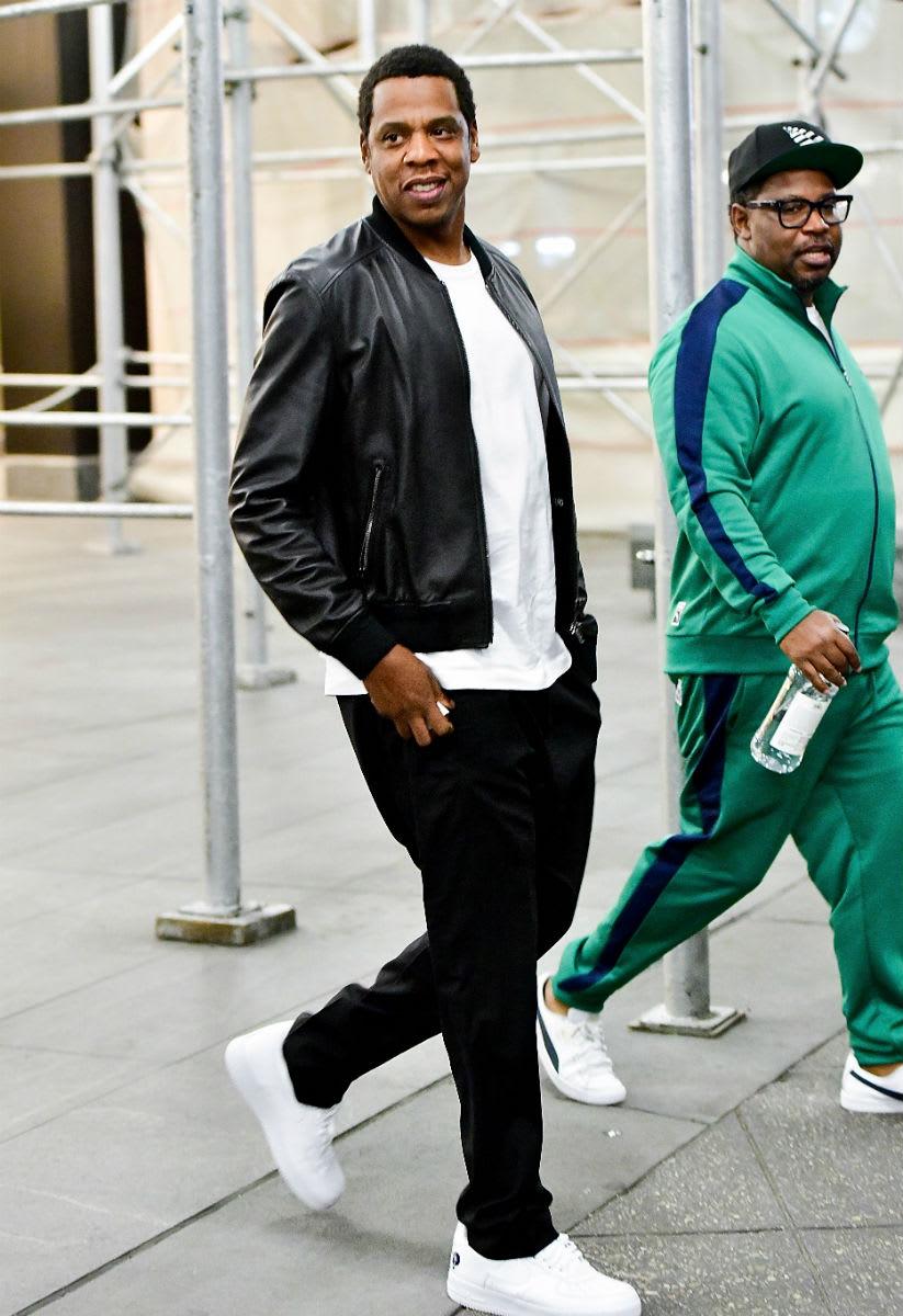 "12b5dc2bfb91cf ... Jordan Retro 12  Nike Air Force 1 Low Celebrity Kicks Sightings Jay Z  Rockin The ""Rocafella"" Nike ..."