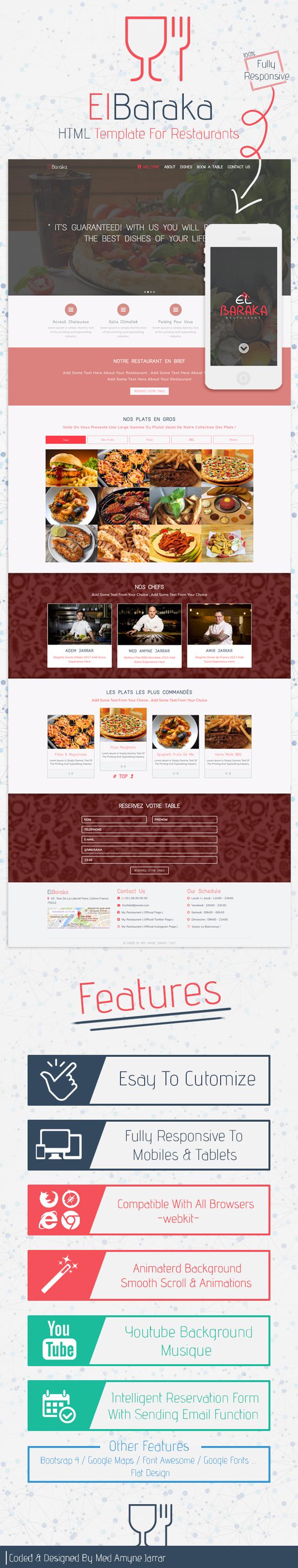 El Baraka Html5 Template For Restaurants By Medamynejarrar