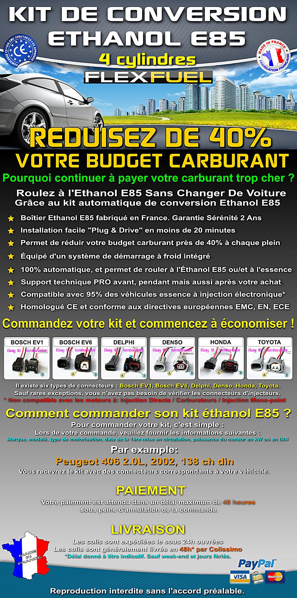 kit ethanol e85 4 cyl peugeot renault audi bmw toyota honda citroen ebay. Black Bedroom Furniture Sets. Home Design Ideas