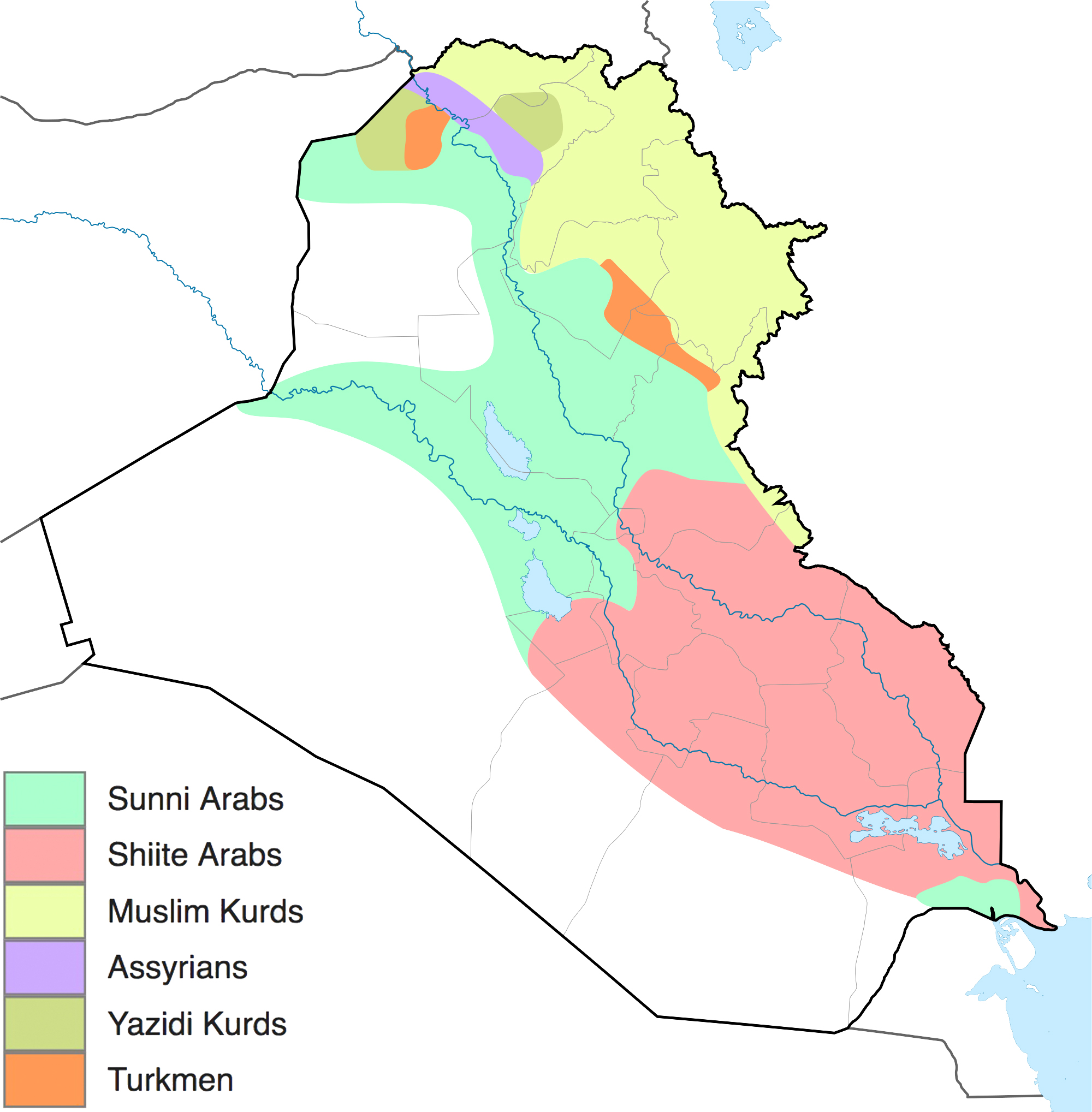 Ethnoreligious map of Iraq
