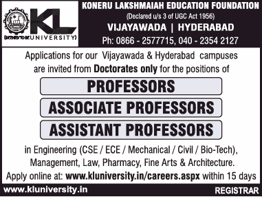 Jobs in Koneru Lakshmaiah Education Foundation