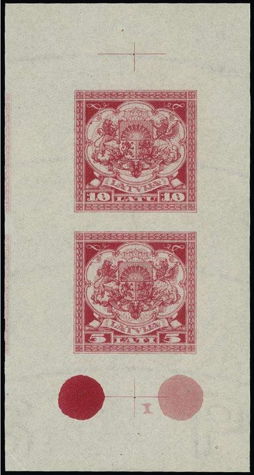 Izmēģinājuma iespiedums sarkanā krāsā uz ūdenszīmju papīra. Pārdots izsolē par 1400 €.