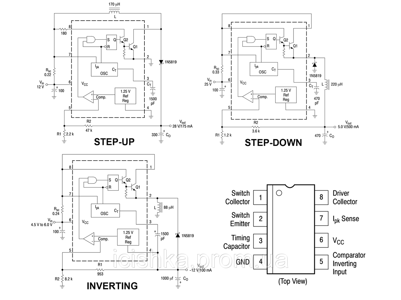 A57 2pz X Mc34063a Step Up Down Inverting Switching Regulator The Stepup Converter Integrato Dc To Control Circuits