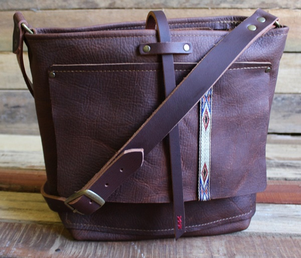 Explorer Brooklyn Leather Tote Bag with Pockets - Front View