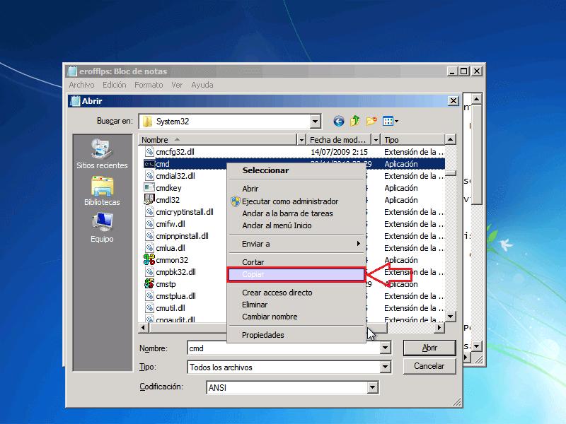 Copiar archivo CMD - Borrar clave en Windows 7