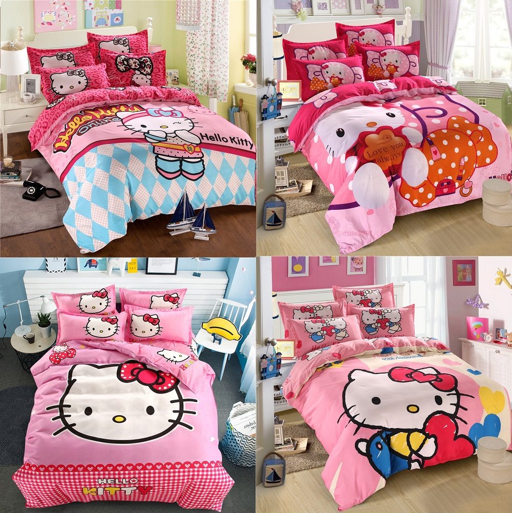 Hello Kitty Hearts Single Panel Duvet Cover Bed Set New Gift Pink
