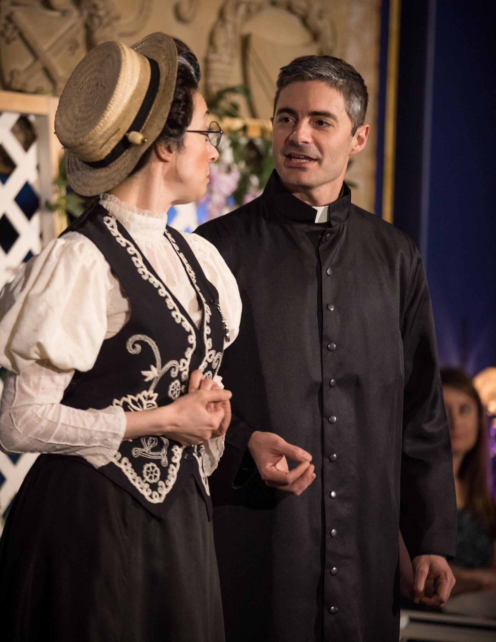 Angela Beyer as Miss Prism and Eric Ryan as Dr. Chasuble