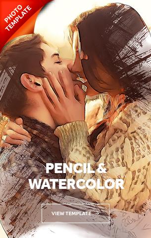 Pencil Watercolor Photoshop Template