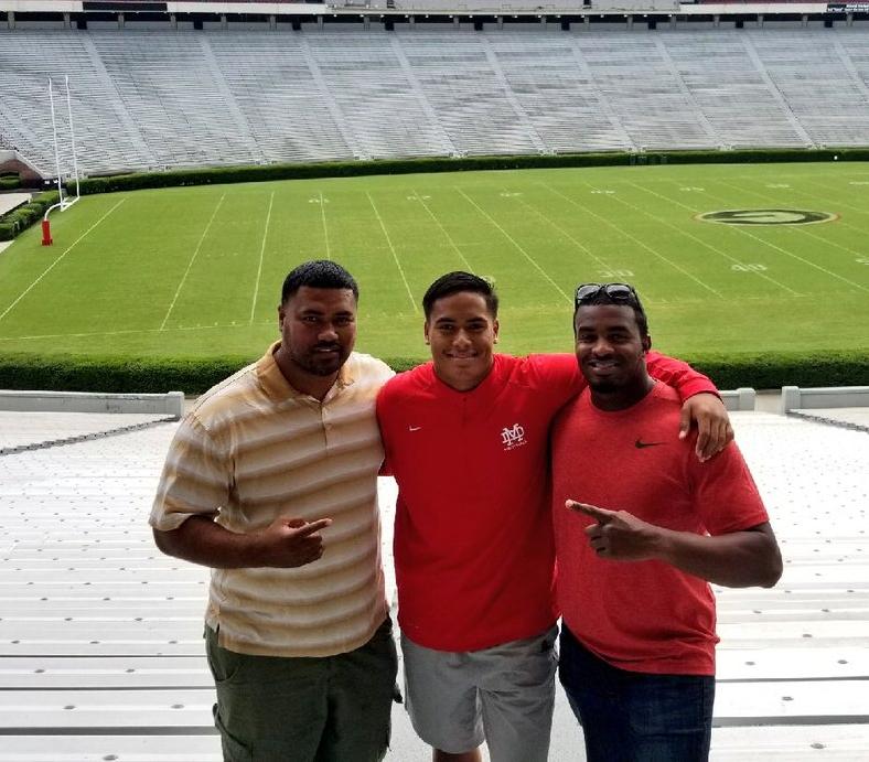 Class of 2018 linebacker Solomon Tuliaupupu (middle) taking in Sanford Stadium on visit to UGA (Photo from Solomon Tuliaupupu / Twitter)