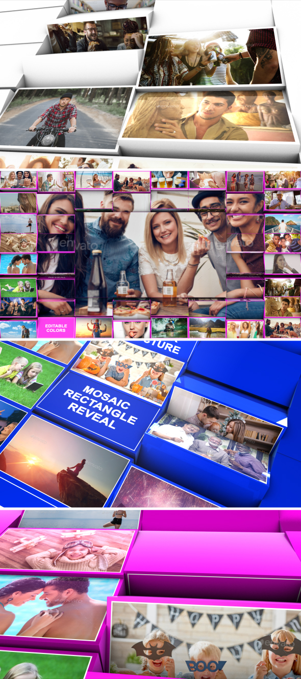 Videohive - Mosaic Rectangle Reveal 20683185 - Free After Effects Template