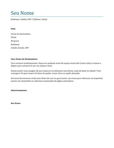 carta de apresentação exemplo para emprego