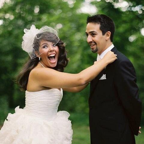 Lin Manuel Miranda and Vanessa Nadal on their wedding
