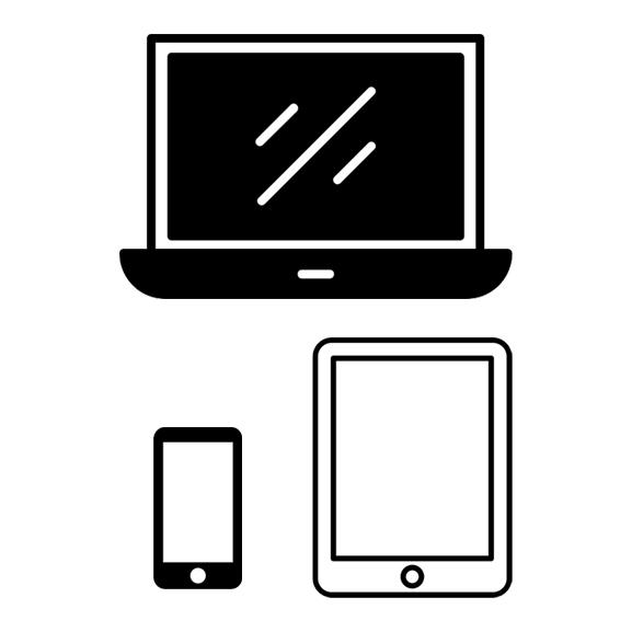 notebook, tablet, smartphone