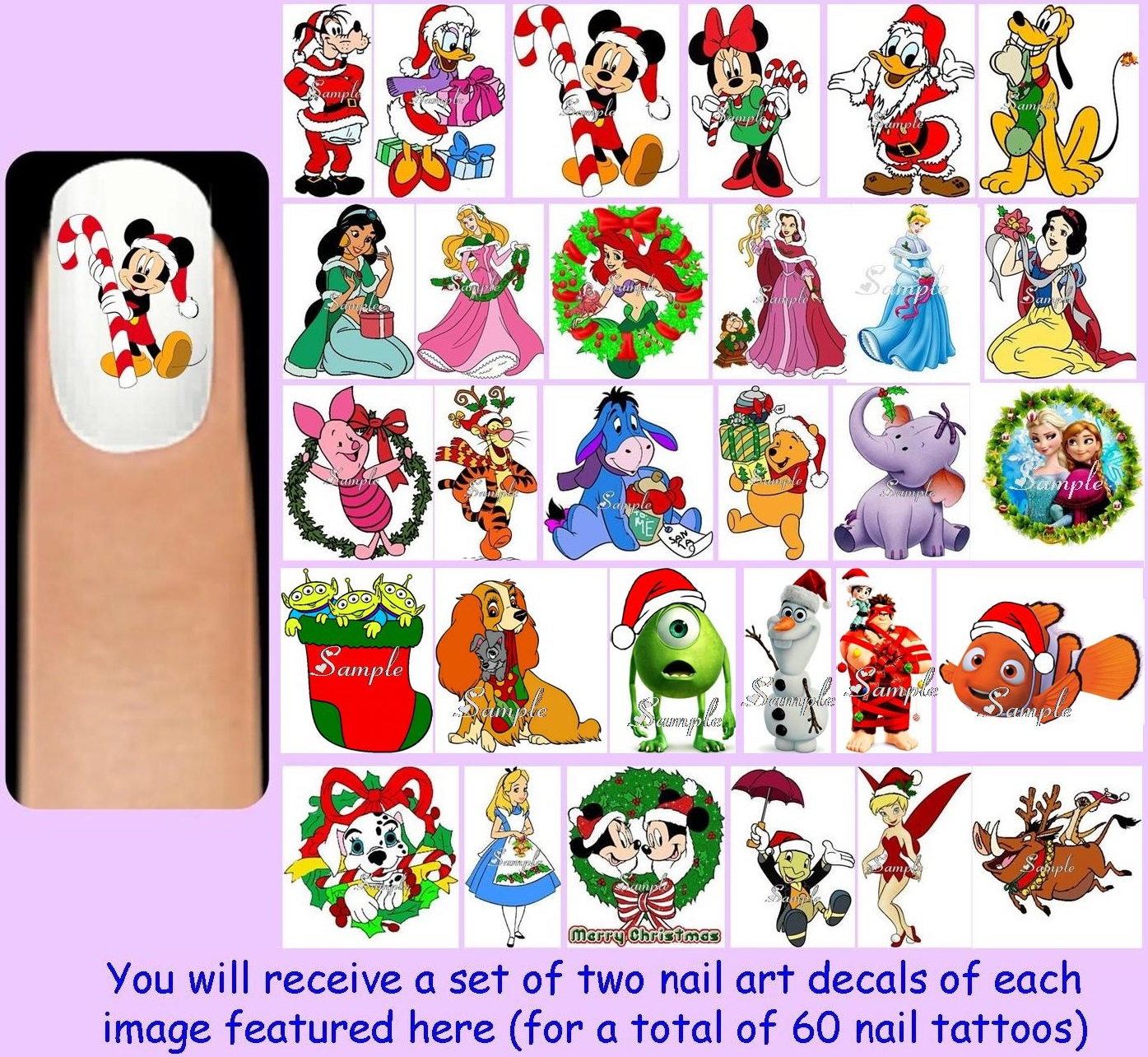 60x Disney Christmas Nail Art Decals Free Gems Mickey Minnie Mouse