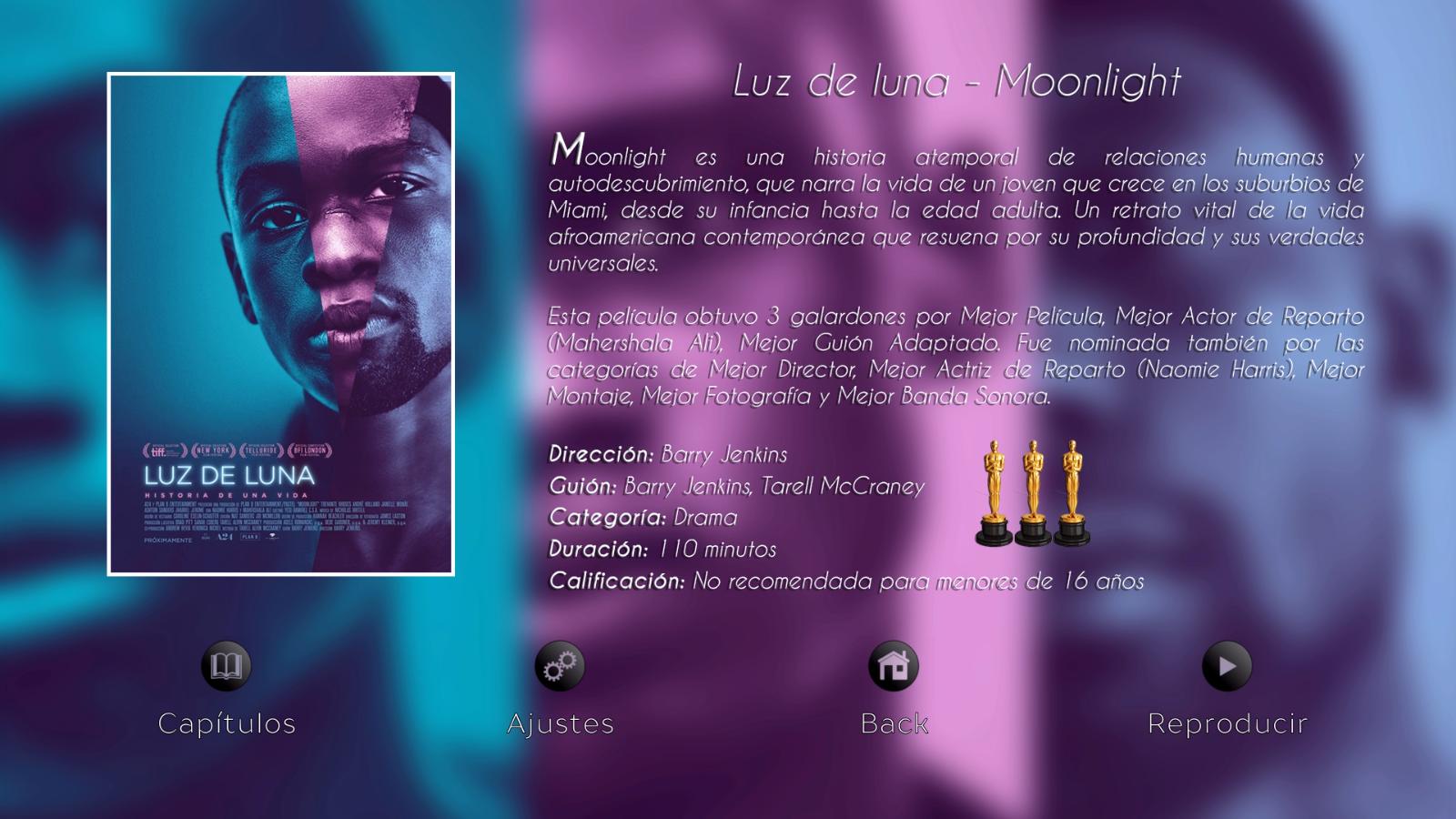 Menú de opciones Moonlight - Disco 01 Colección The Oscars Nominateds 2017