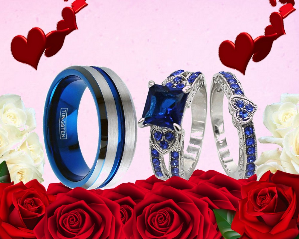 HIS TUNGSTEN AND HER SILVER BLUE CZ SAPPHIRE BAND ENGAGEMENT WEDDING ...