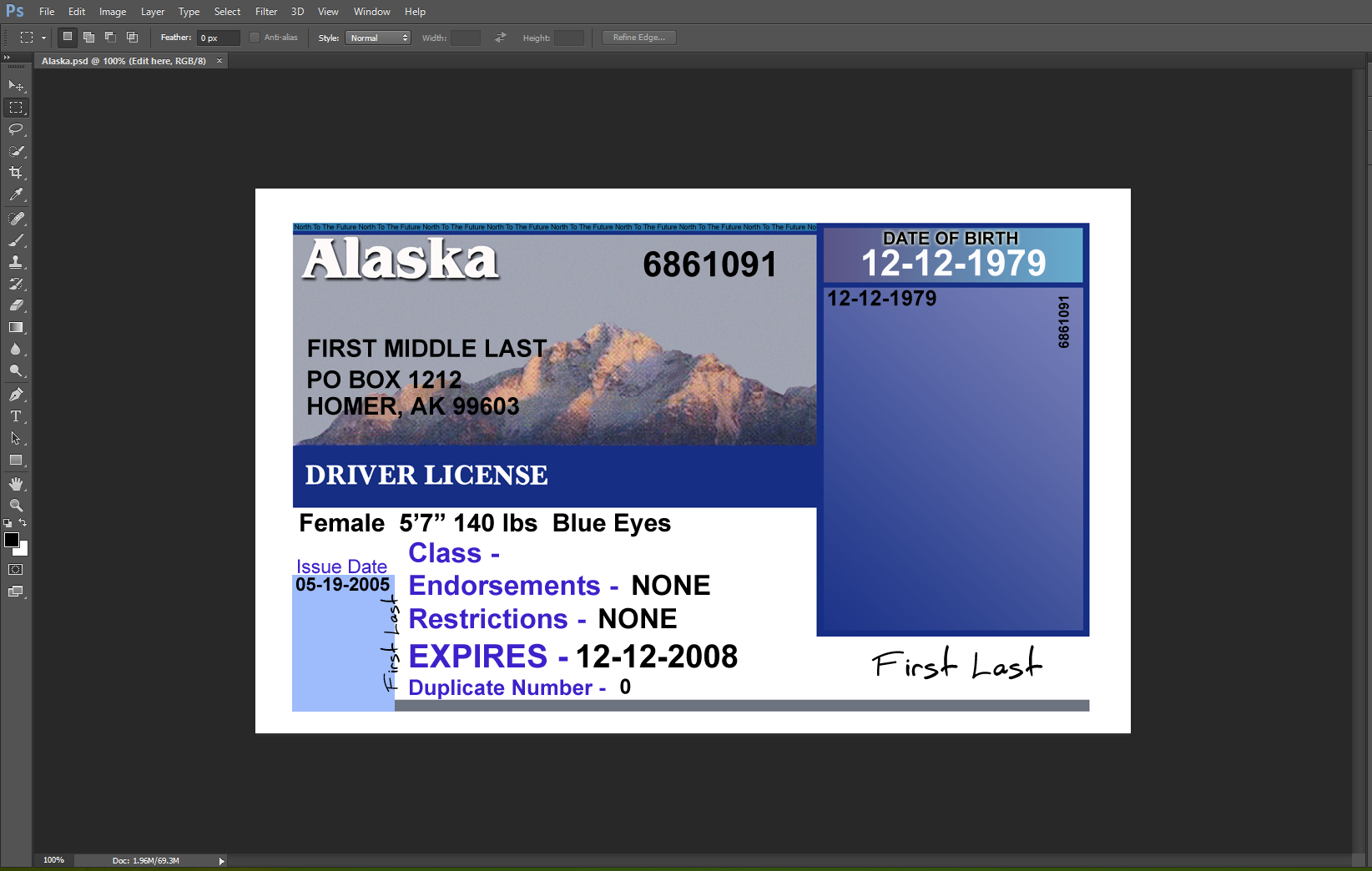 Alaska Driving Licence PSD Template