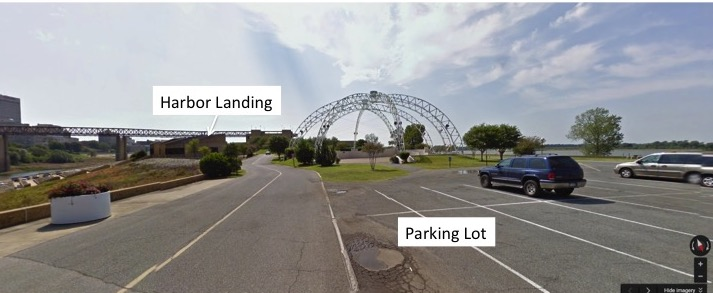 Parking lot relative to Harbor Landing