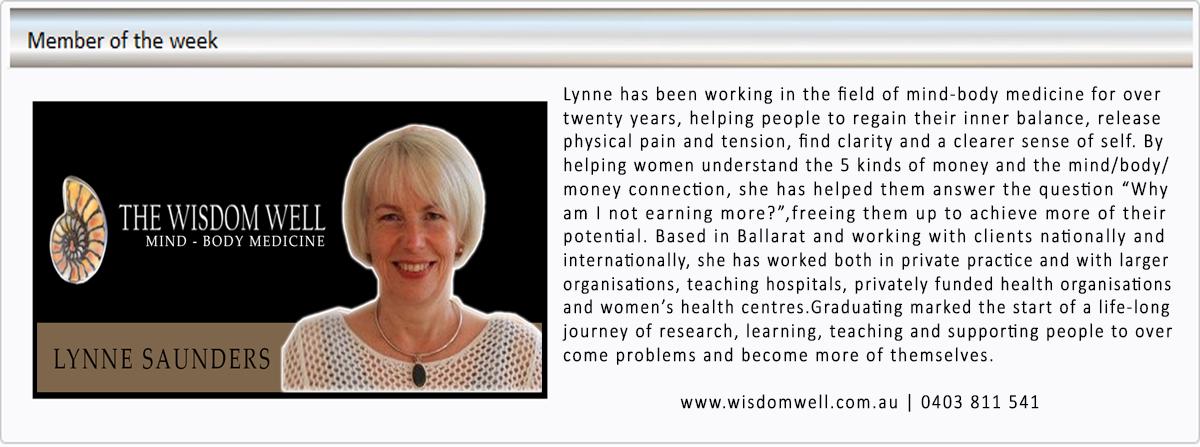 Lynne Saunders Well Being Mentor Wisdom Well Mind Body Health