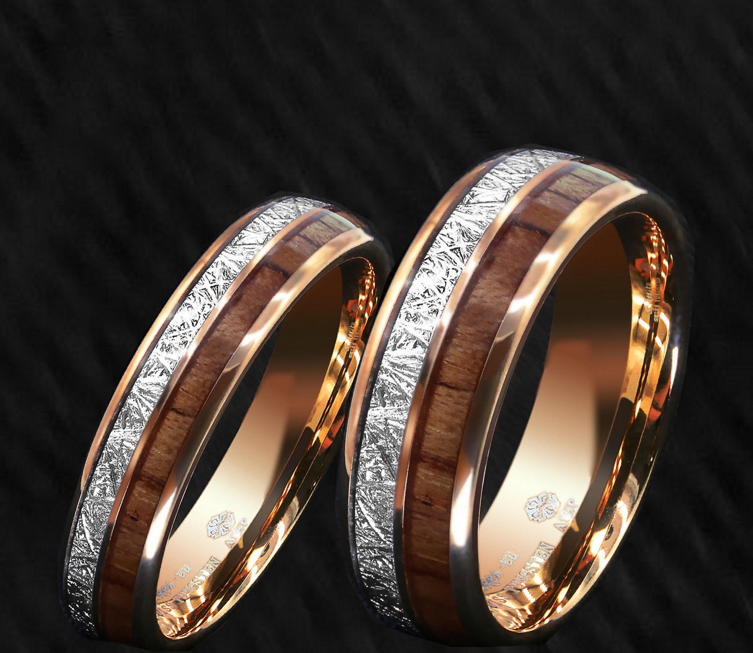 His & Her Tungsten 2pcs Rose Gold Meteorite Koa Wood