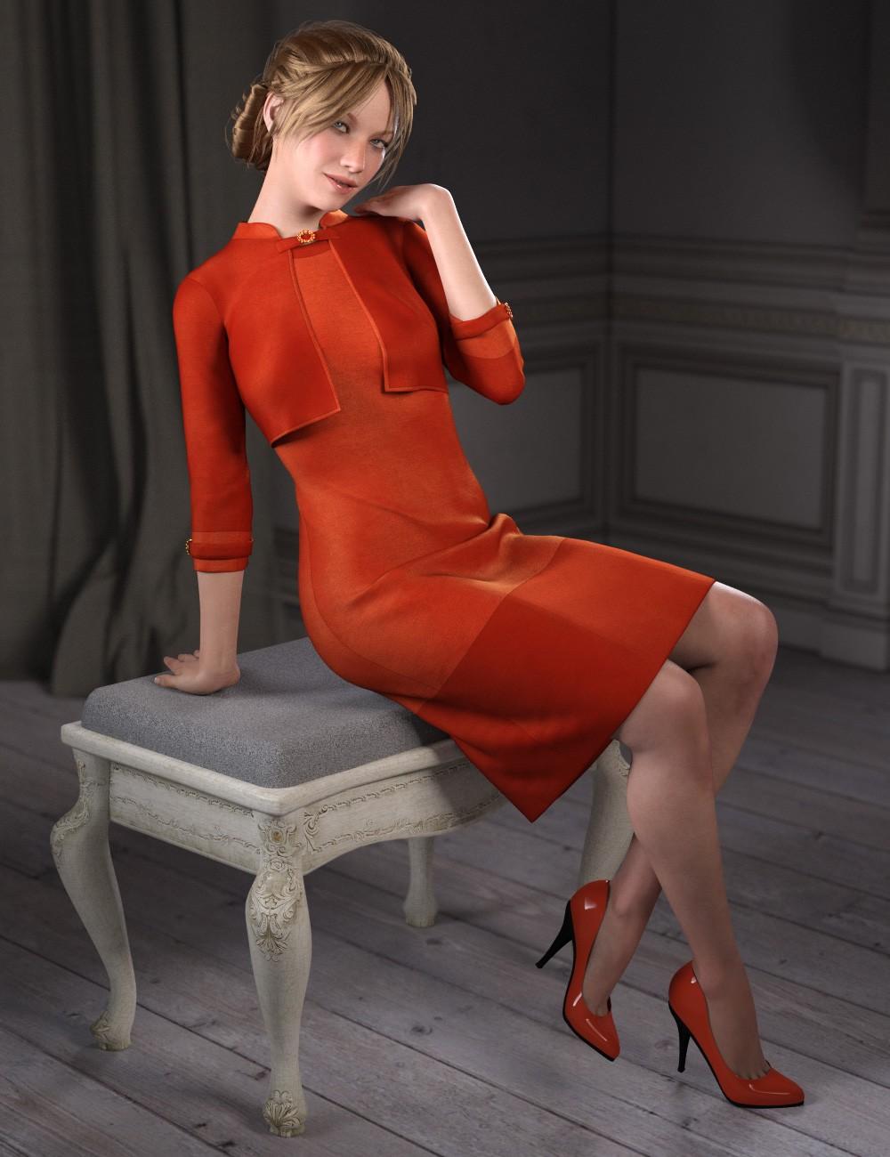 dForce Little Red Dress for Genesis 8 Female(s)