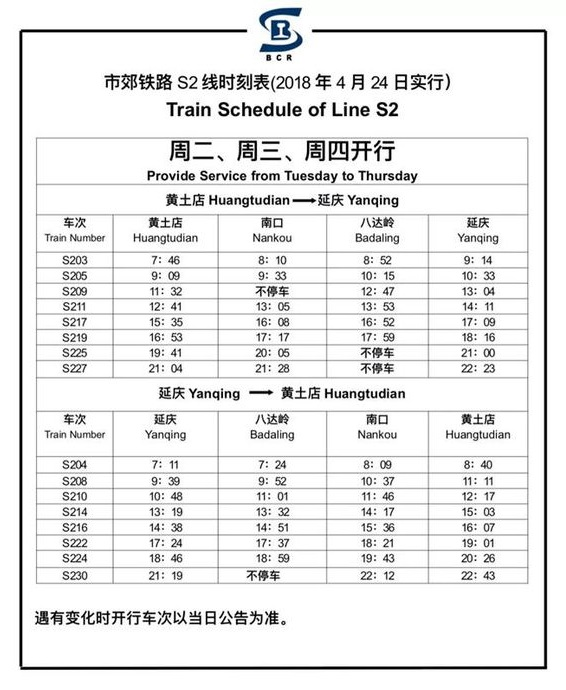 Beijing Train Schedule of Line S2