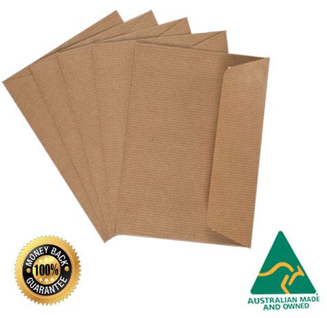 Details about 100 X C6 Premium BROWN RIBBED Kraft Envelopes Peel N Seal  Invitation DIY A Grade