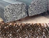 Varillas de acero corrugado, tubos de hierro galvanizado