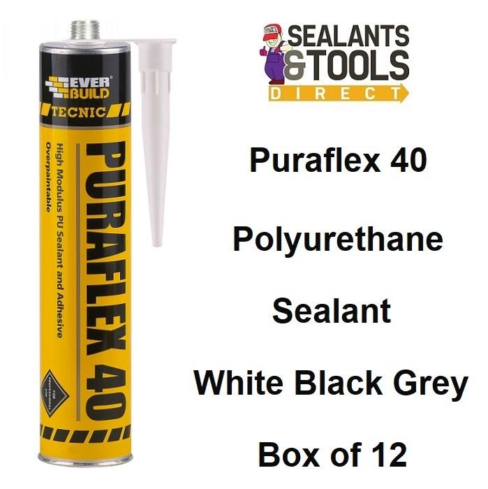 Everbuild Tecnic Puraflex 40 Sealant Adhesive Box Black Grey White