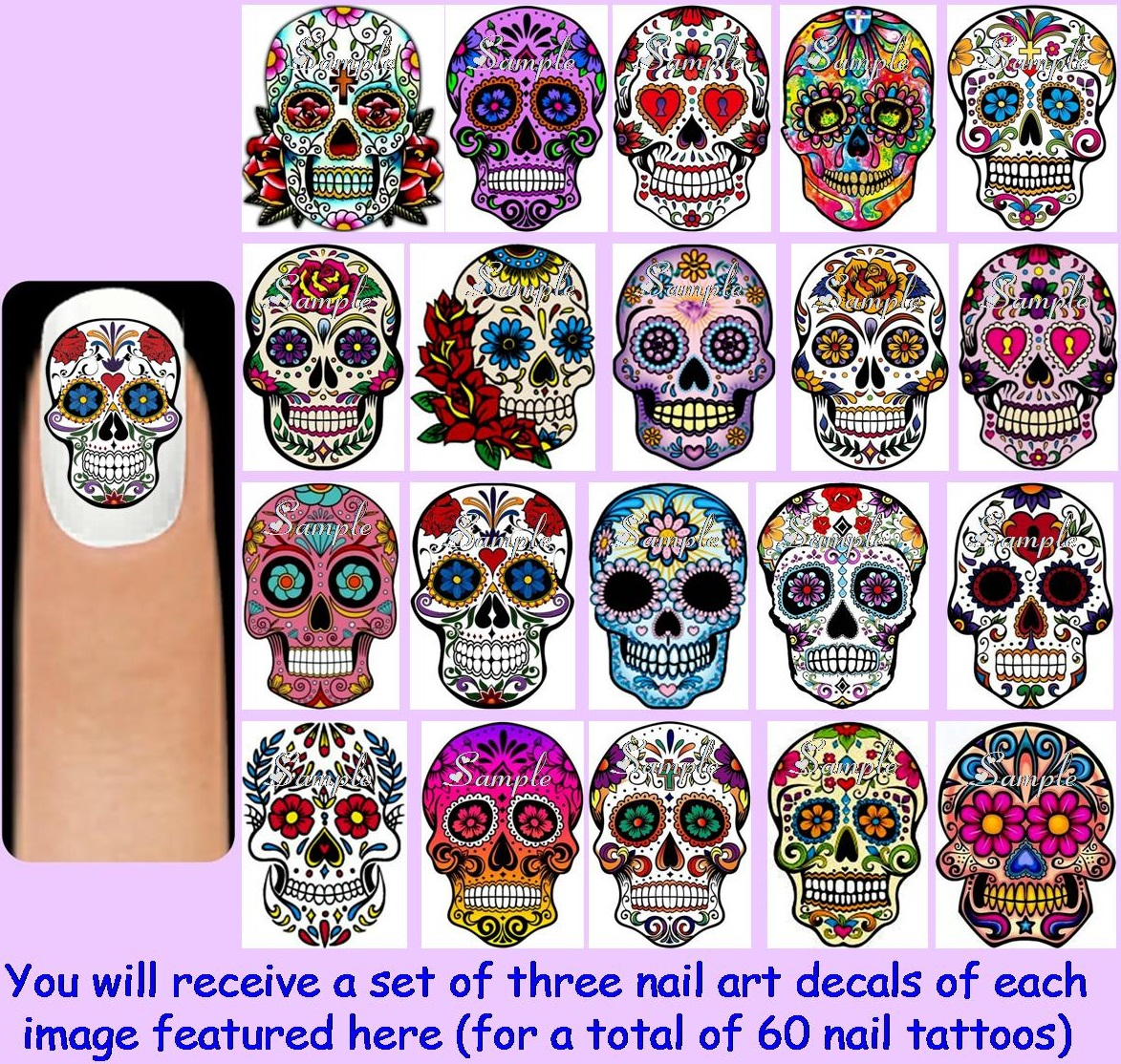 60x Sugar Skulls Nail Art Decals Free Gems Day Of The Dead Da De