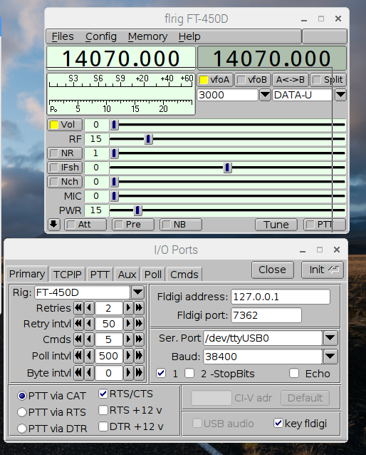 FT-450D + Linux (RPi) + FLDIGI