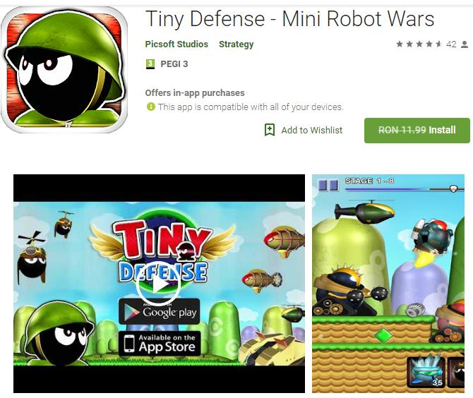 Tiny Defense Mini Robot Wars Games Software Giveaways