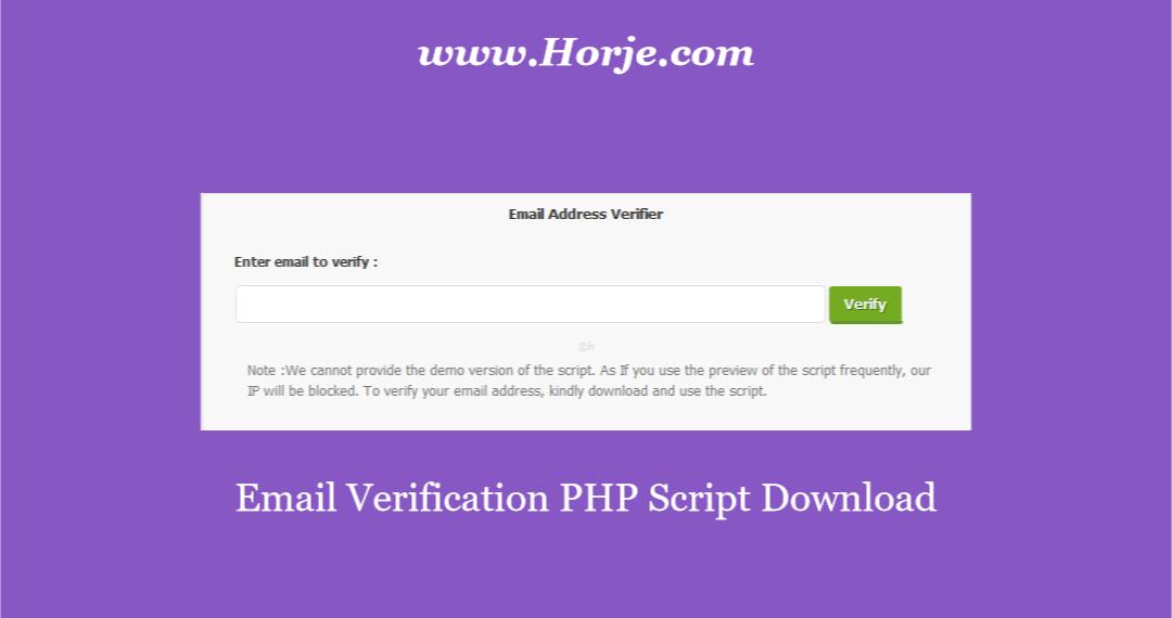 Email Verification PHP Script Download