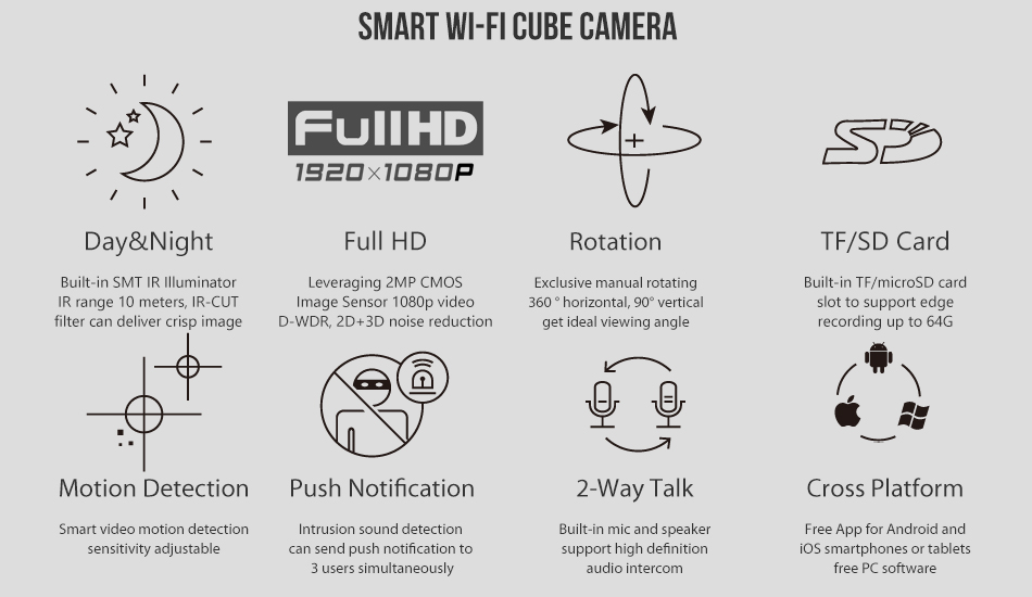Day night video surveillance, Full HD 1080p, Manual rotating, 64G edge storage, motion detection, push notification, 2-way talk, free Android and iOS App