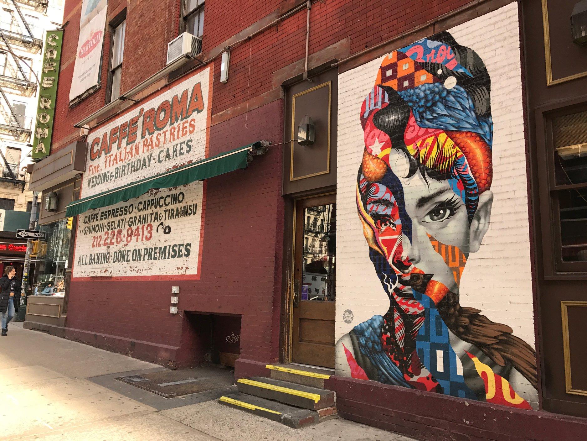 Caffe Roma New York City Audrey Hepburn Mural
