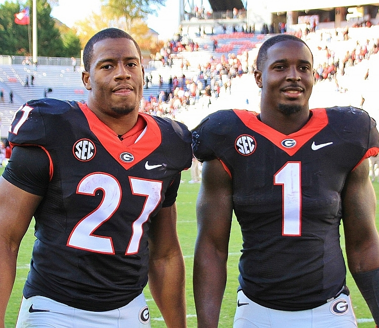 Nick Chubb (27) & Sony Michel (1) (Photo by Rob Saye)