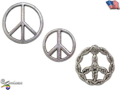 Peace Love Symbol Sign Hippie Bohemian Anti War Rainbow Pewter Coat